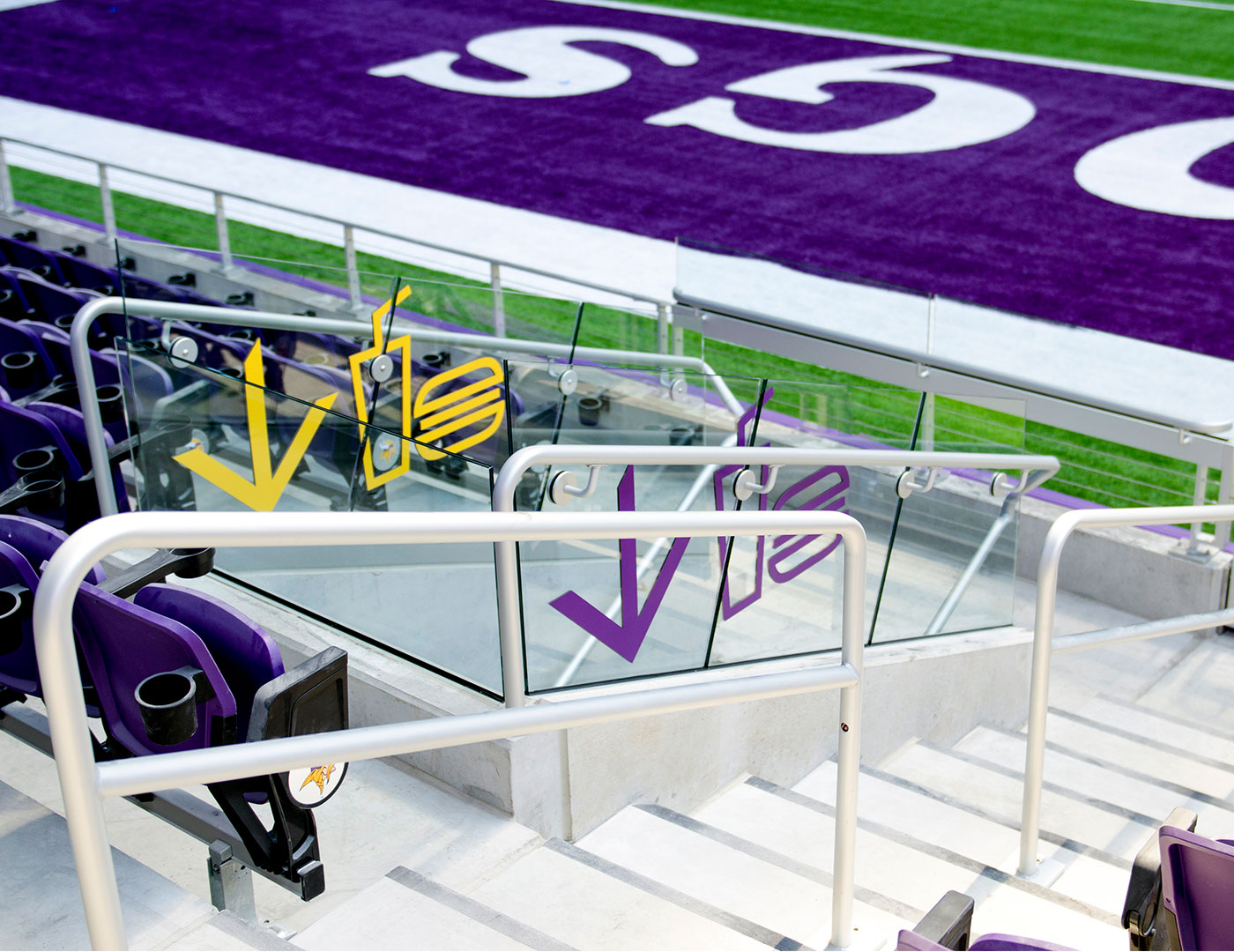 U. S. Bank Stadium fan entrances lines with Track Rail glass railing