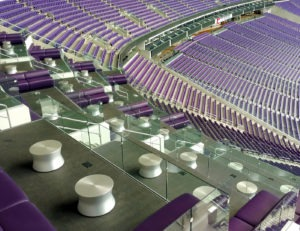 Loge boxes overlooking the field utilize the Track Rail glass railing system