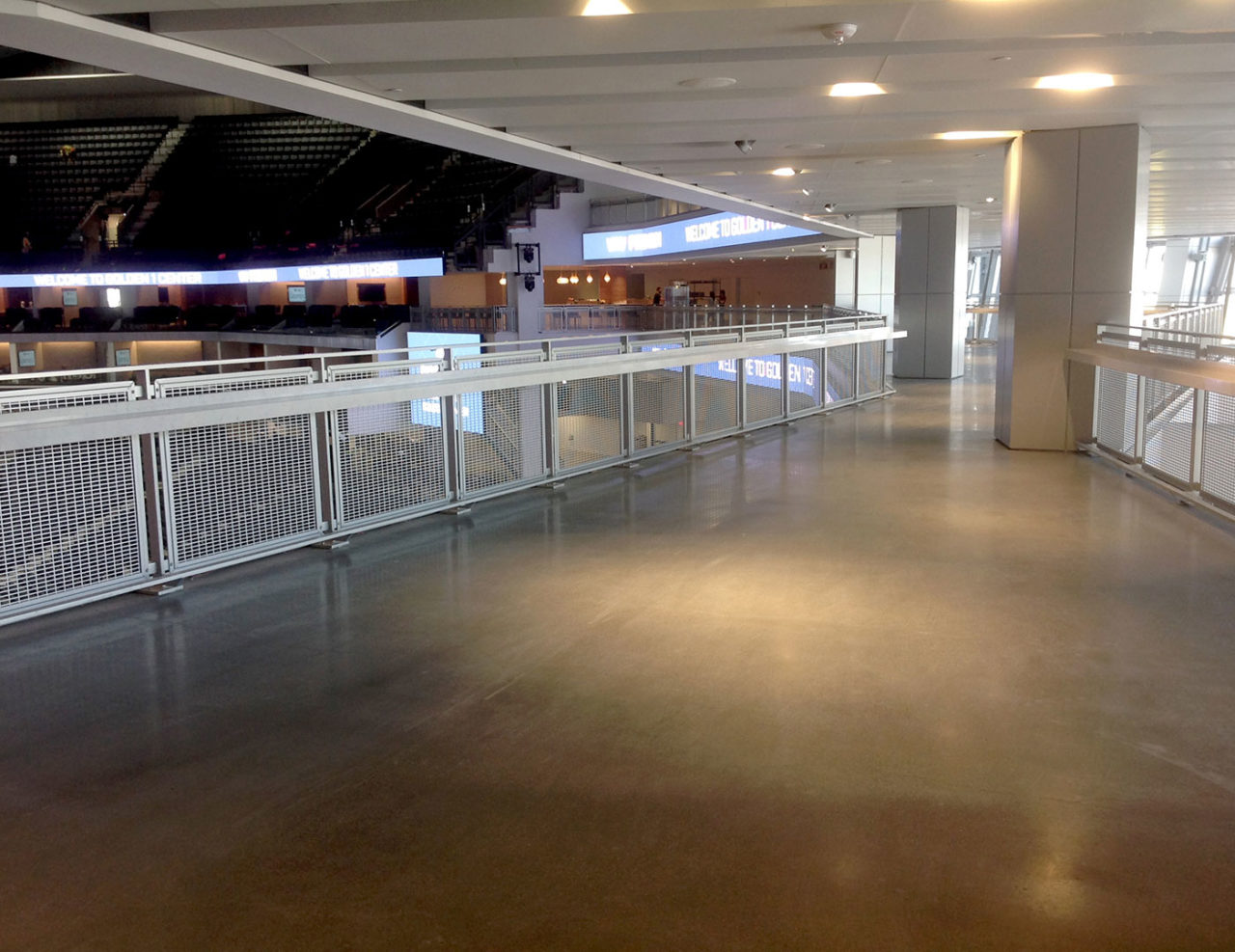 Golden 1 Center aluminum mesh railing on bridge