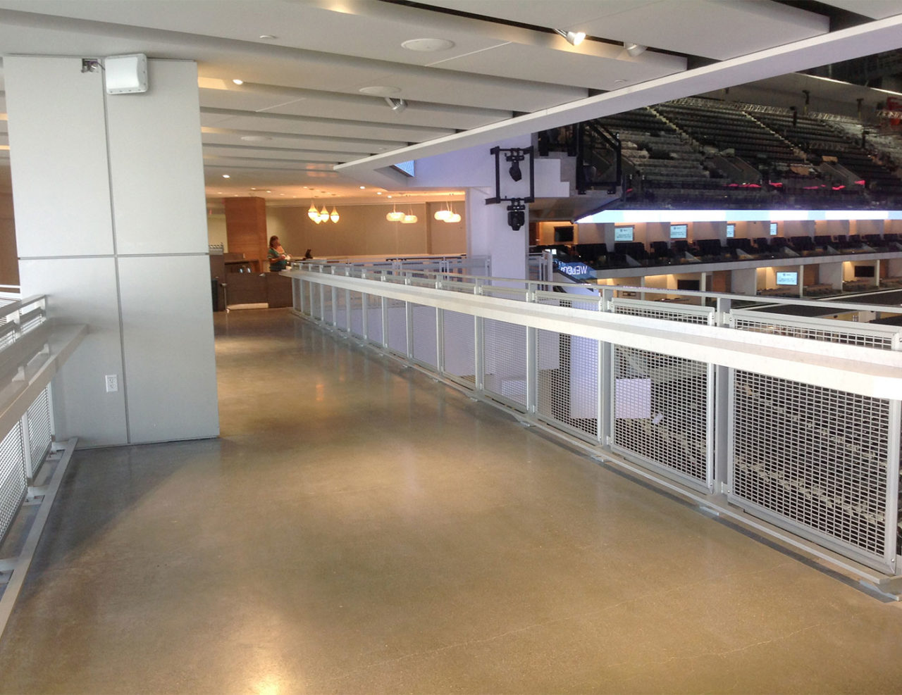 Golden 1 Center bridge with mesh railing