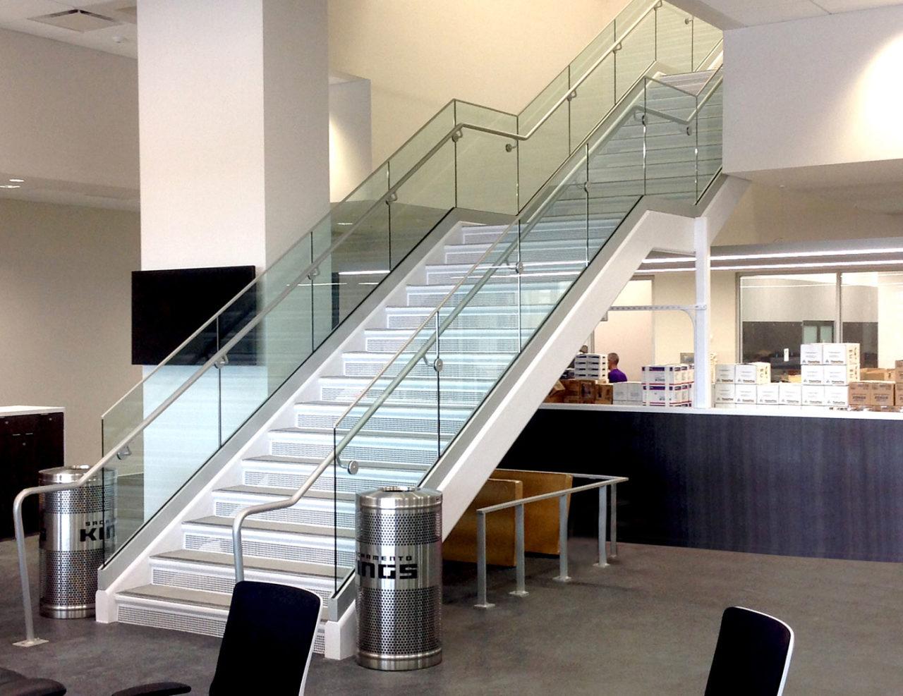 Track Rail glass railing on stairs of Golden 1 Center practice facility