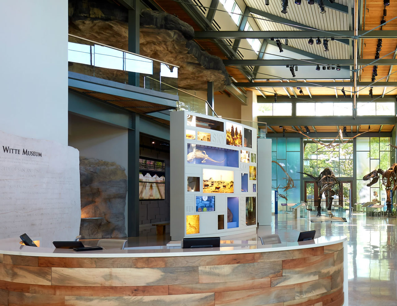 Track Rail, a glass railing system, with a custom solid wood top rail overlooking the Witte Museum's Valero Great Hall