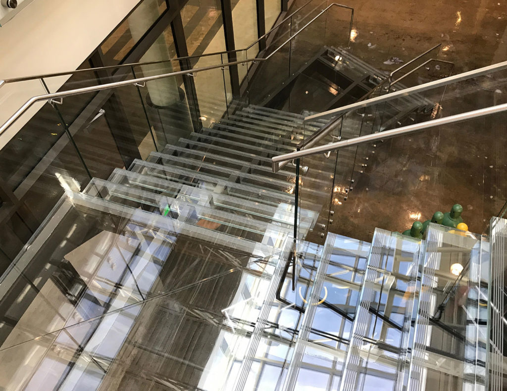 Invisible glass staircase, glass stair treads