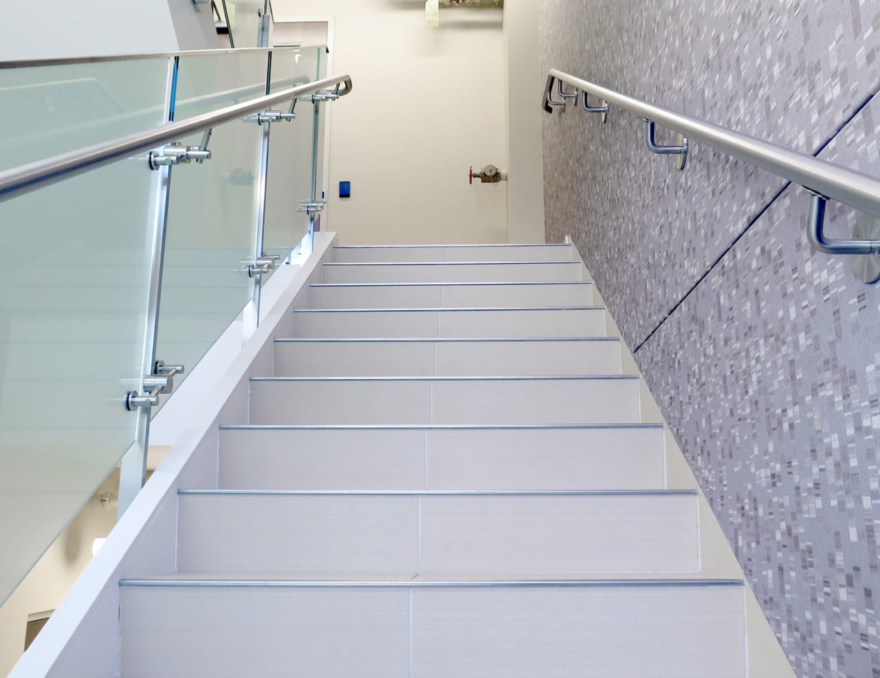 The Interior Line Series Glass Railing Stair Application Includes 1.5u201d  Stainless Steel Wall And Post Mounted Handrails.